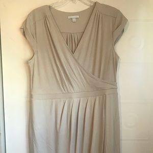 Tan V neck dress
